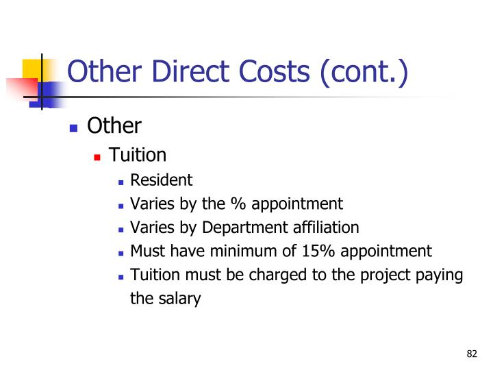 Other Direct Costs (cont.)