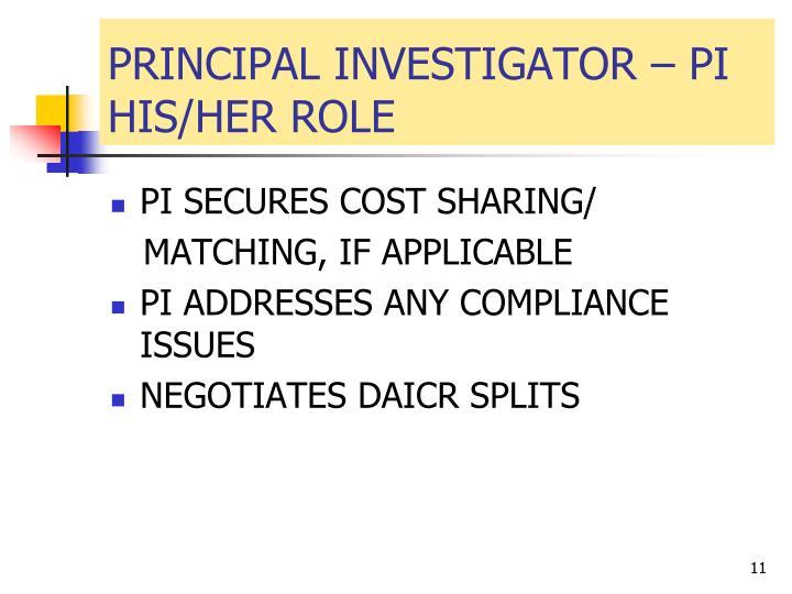 PRINCIPAL INVESTIGATOR – PI