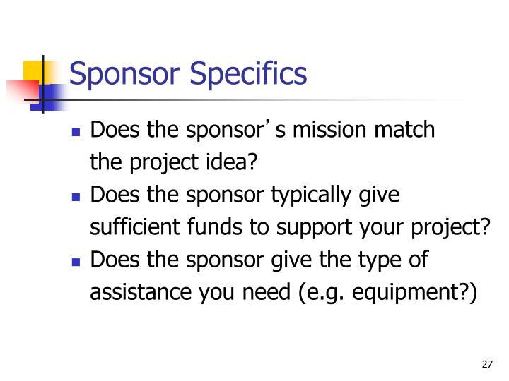 Sponsor Specifics