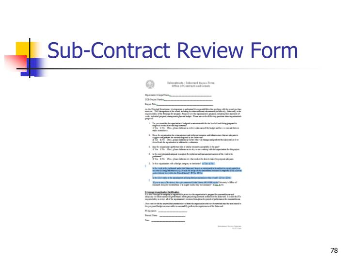 Sub-Contract Review Form