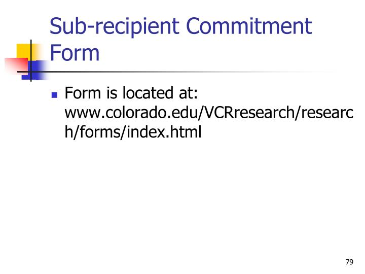 Sub-recipient Commitment Form