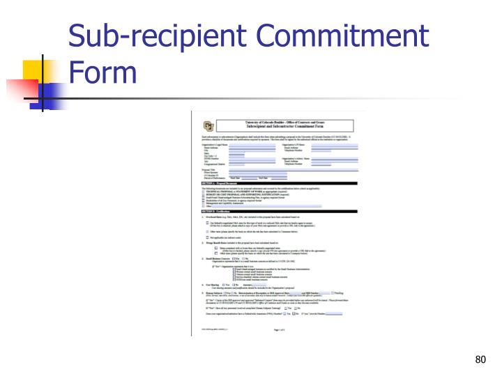 Sub-recipient Commitment Form