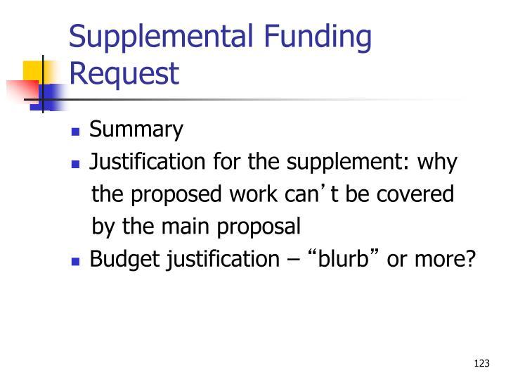 Supplemental Funding Request