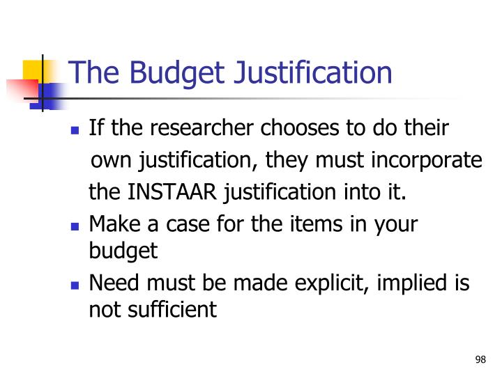 The Budget Justification