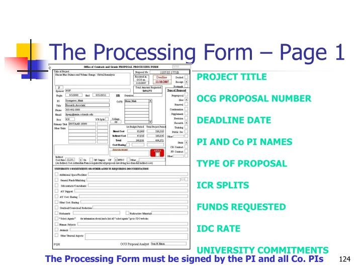 The Processing Form – Page 1