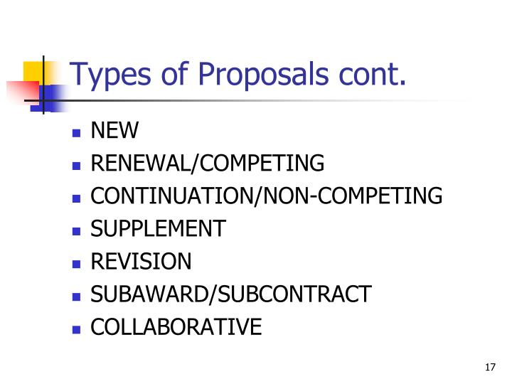 Types of Proposals cont.