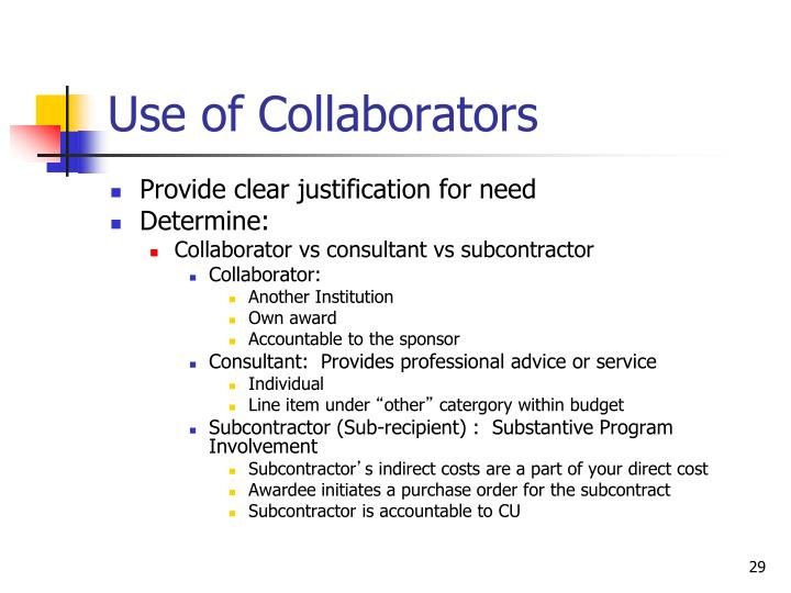 Use of Collaborators