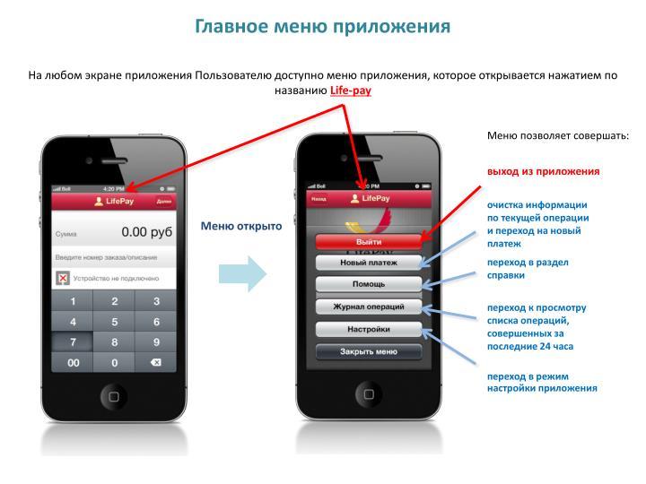 Главное меню приложения