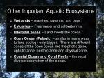 other important aquatic ecosystems