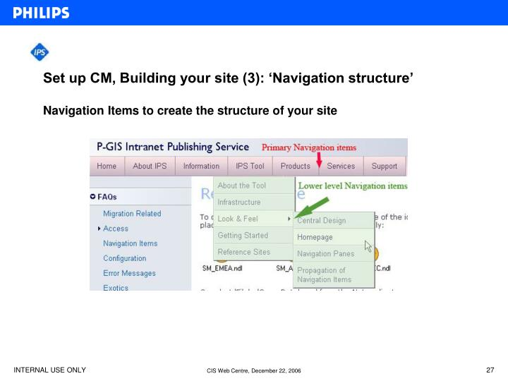 Set up CM, Building your site (3): 'Navigation structure'