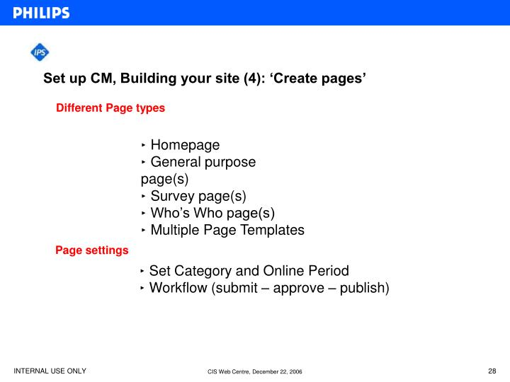 Set up CM, Building your site (4): 'Create pages'