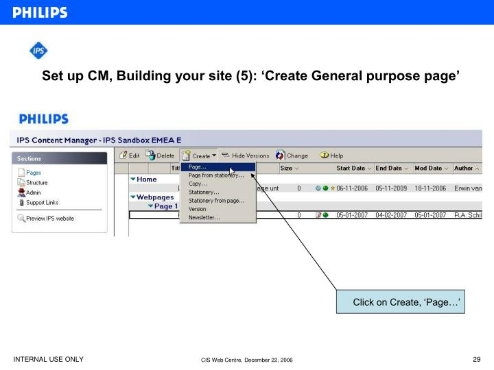 Set up CM, Building your site (5): 'Create General purpose page'