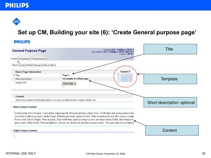 Set up CM, Building your site (6): 'Create General purpose page'