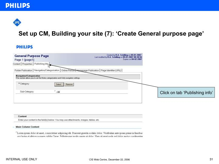 Set up CM, Building your site (7): 'Create General purpose page'