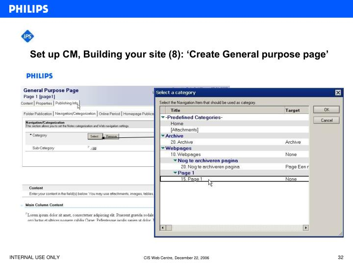 Set up CM, Building your site (8): 'Create General purpose page'