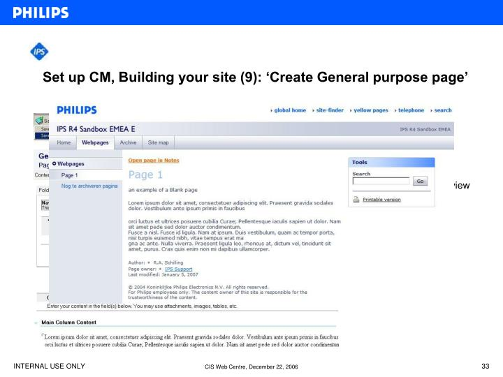 Set up CM, Building your site (9): 'Create General purpose page'