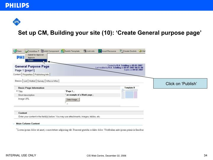 Set up CM, Building your site (10): 'Create General purpose page'