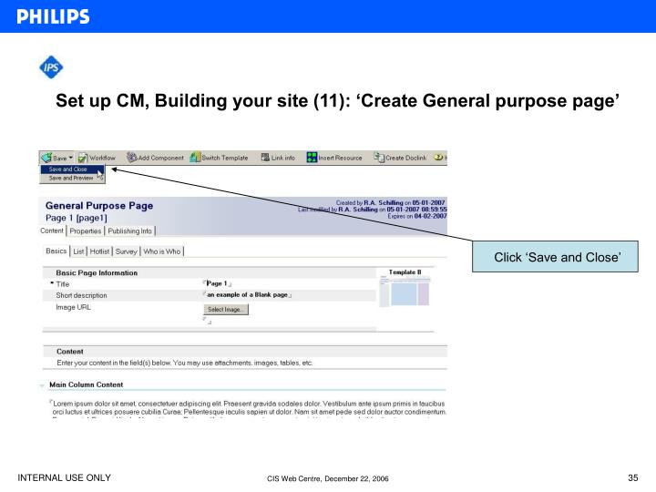 Set up CM, Building your site (11): 'Create General purpose page'