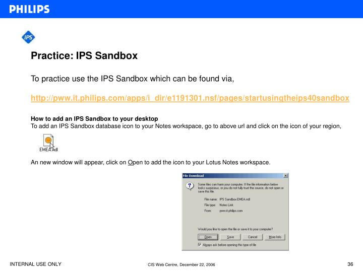 Practice: IPS Sandbox