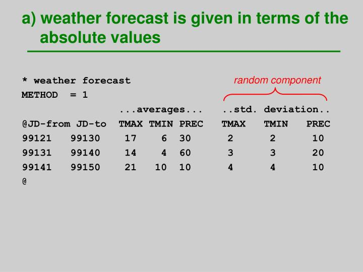 a) weather forecast is given in terms of the absolute values