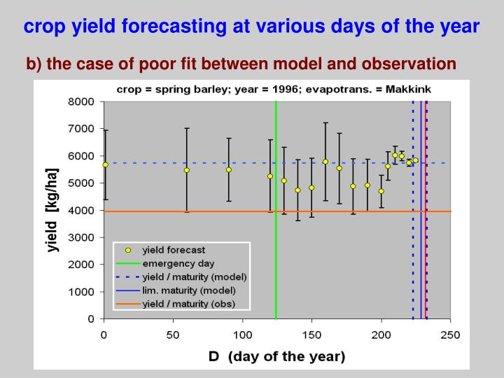 crop yield forecasting at various days of the year