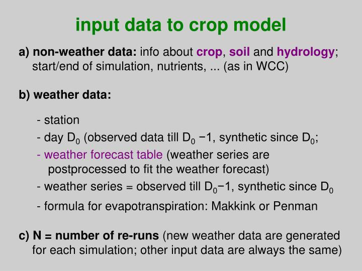 input data to crop model