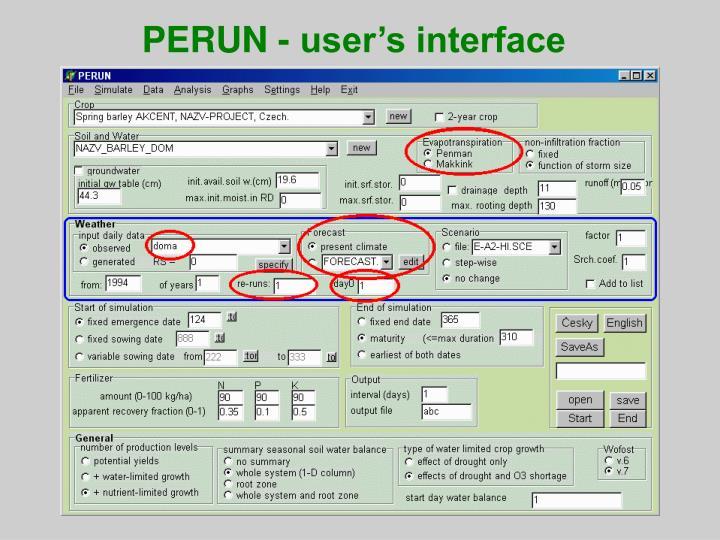 PERUN - user's interface