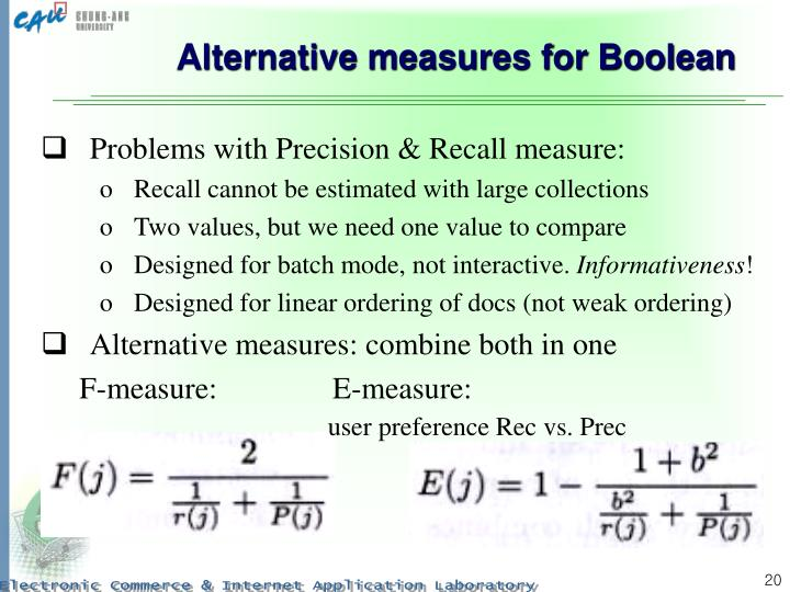 Alternative measures for Boolean
