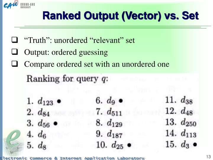 Ranked Output (Vector) vs. Set