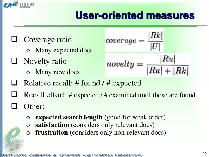 User-oriented measures