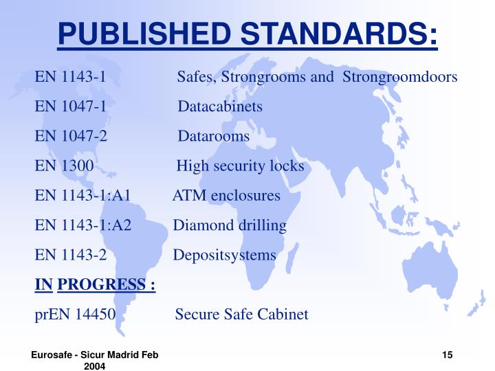 PUBLISHED STANDARDS: