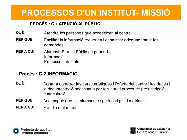 PROCESSOS D'UN INSTITUT- MISSIÓ