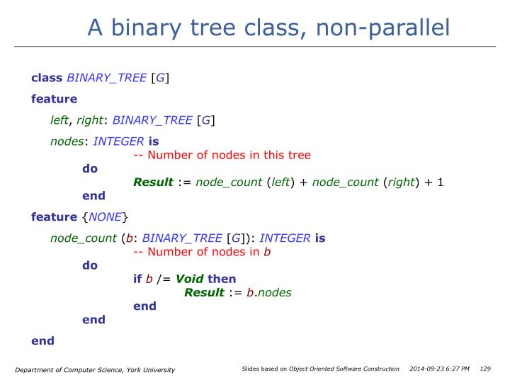 A binary tree class, non-parallel