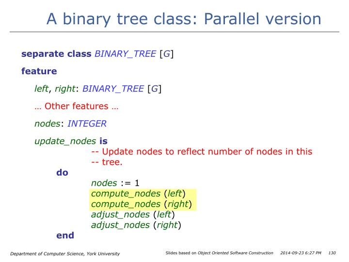 A binary tree class: Parallel version