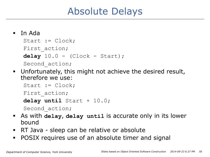 Absolute Delays