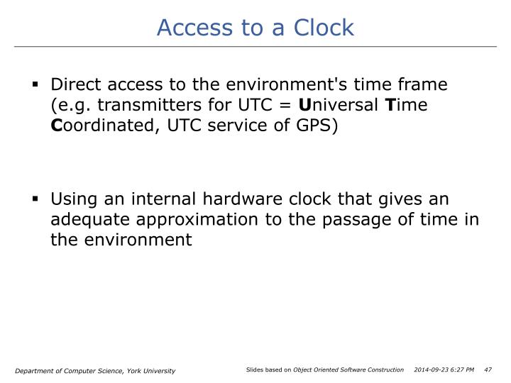 Access to a Clock