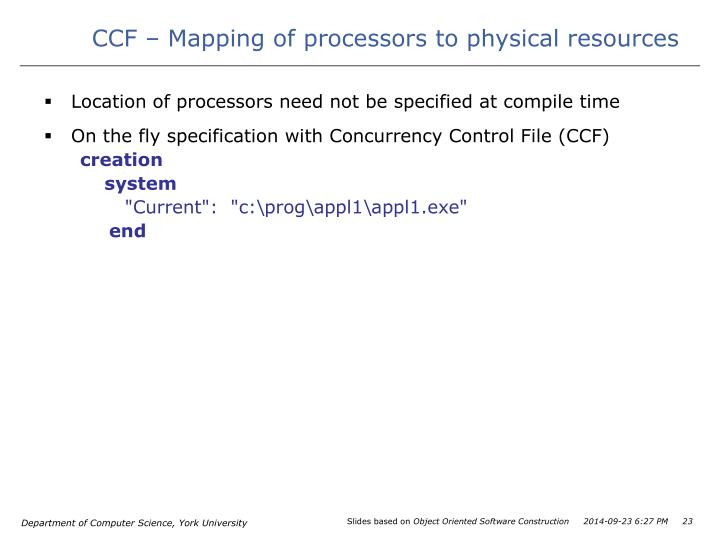 CCF – Mapping of processors to physical resources
