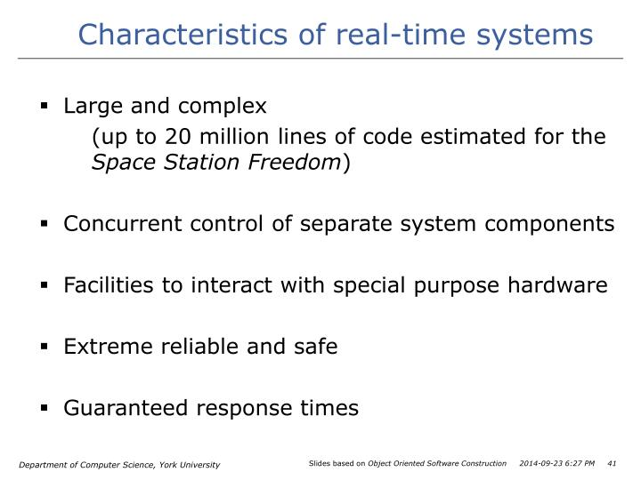 Characteristics of real-time systems