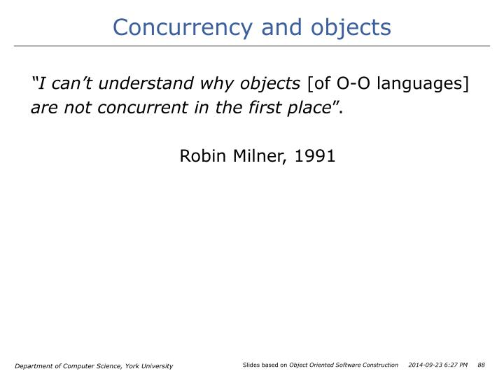 Concurrency and objects