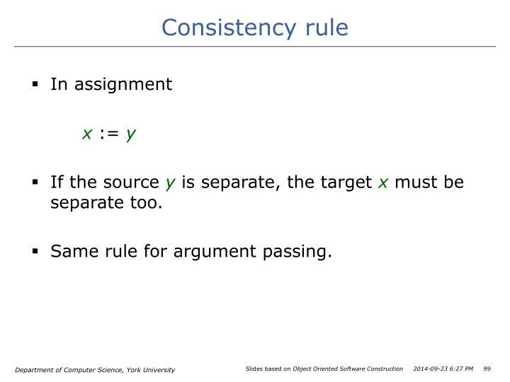 Consistency rule