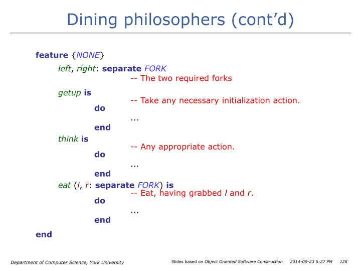 Dining philosophers (cont'd)