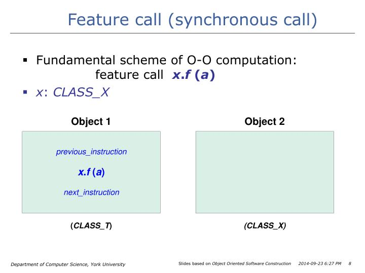 Feature call (synchronous call)