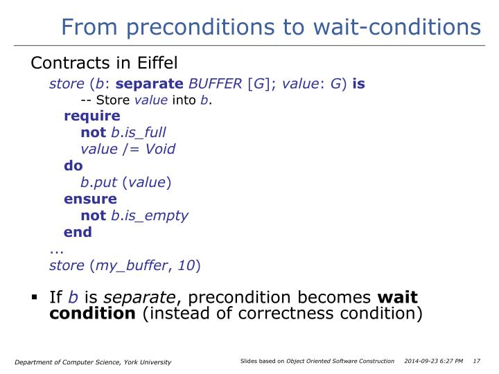 From preconditions to wait-conditions