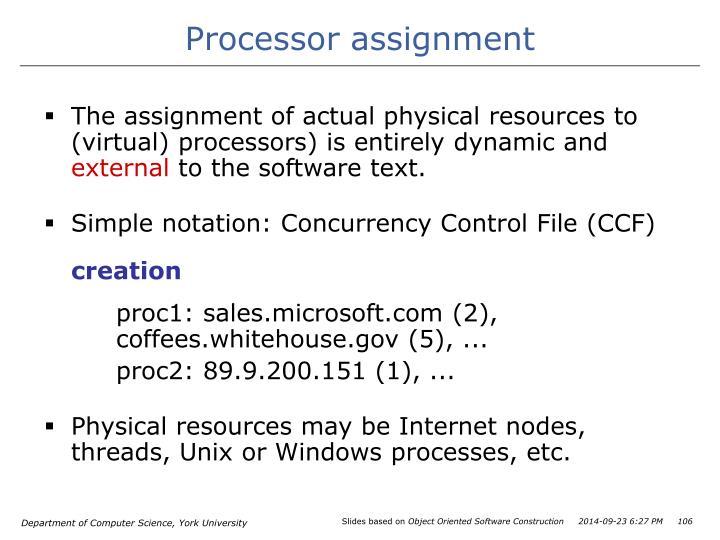 Processor assignment