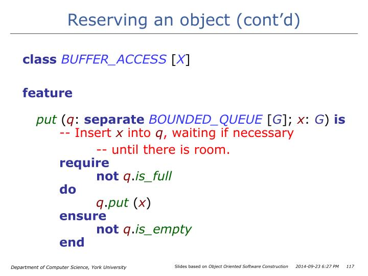 Reserving an object (cont'd)