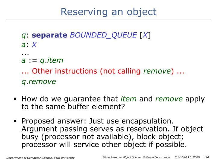 Reserving an object