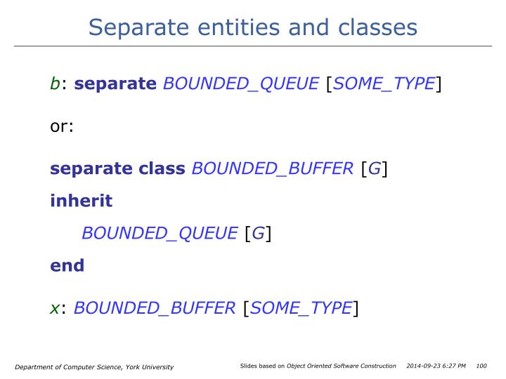 Separate entities and classes