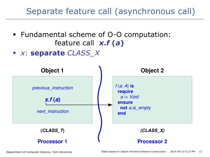 Separate feature call (asynchronous call)
