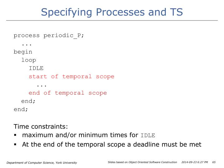 Specifying Processes and TS