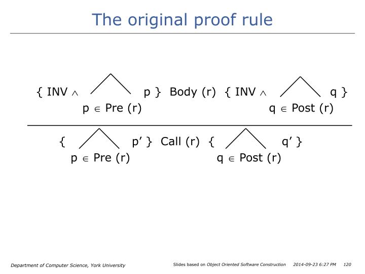 The original proof rule